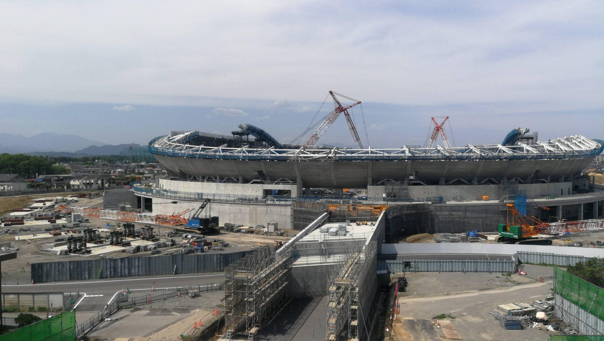 建設中の栃木県総合グランド「新スタジアム」をとちのきファミリーランドの観覧車からみてきた